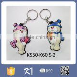 Hot sale bear shaped rubber key chain ring