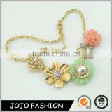 Wholesale beautiful gold chain resin necklace bulk rhinestone pearl bead flower design fashion jewelry