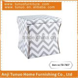 Sitting&storage ottoman with movable lid,Water ripple pattern fabric cover,Nails around,TB-7807