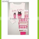 baby night dresses children sleepwear kids pajamas girls happy holiday cat printed pyjamas 100% cotton pijamas nightwear sell