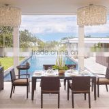 All weather wicker Rattan patio dining Set Furniture (SGS test, 1.2mm thickness alu frame,5cm thick cushion with 250g poly)