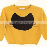 TYSL02 Kids Fashion Swearer /100%cotton with yellow/Black Cat On Front Part/2014 2015