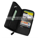 New Products RFID Blocking Lining Zipper Leather Travel Passport Holder, PU Leather Passport Covers with Ticket Holder