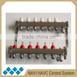 6 ports Hydronic Floor Heating Manifold, Thermostat Stainless Heating Water Manifold, Solar Water Heater Manifold