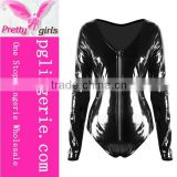 PVC Leather Jumpsuit Black Playsuit sexy women Costumes for halloween cosplay