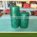 Wholesale High Quality Chistmas Decorative Scented Pillar Candle, Snow flakes Candle, Wax