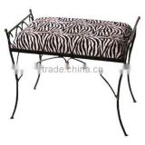 custom upholstered indoor steel frame and leg bench stool