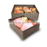 woven craft handmade square bamboo woven laundry basket for storage clothes or food
