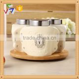 Ceramic canister set with turntable bamboo rack,ceramic food storage jar,ceramic kitchen sugar coffee tea jar