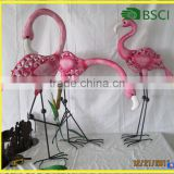 Metal Pink Flamingo Garden Ornaments Home Decoration Handmade Craft From Waste Material