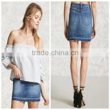 Woman Fashion light blue cotton high waist slim tight Short Jeans Skirts