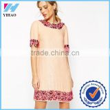 Yihao Apparel Woman New Casual Lady Short Sleeve Beaded Free Prom Dress Fashion 2017