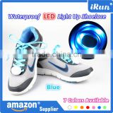 Cool Fashion Light up LED Shoelaces Flash Party Skating Blue Glowing Shoe Laces for Boys Girls Fashion Luminous Shoe Strings