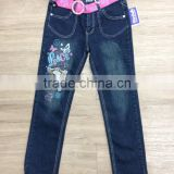 2016 latest fashion fancy printed dark wash girls denim pant slim fit with belt #9R5792