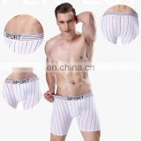 Hot sale good quality stripped comfortable breathable pure cotton men boxer briefs underwear