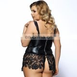 Wholesale plus size faux leather and venice lace corset