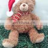 promotional customized stuffed plush chiristmas bear toy with red hat