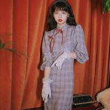 Old time retro 7 / 3 Sleeve Plaid elegant cheongsam young girl improved autumn dress