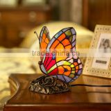 tiffany home decorative lamp stained glass red butterfly night light LED decoration light