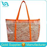 Custom PVC Tote Bag Fashion Lace PVC Tote Bag With Neon Leather Trim 300 Pcs MOQ Mixed 3 Colors