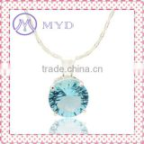 Shining Ocean Blue Glass TearDrop Pendant With Silver Chain