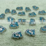 diy alloy metal live floating locket charms loose beads blue feet design lots styles available