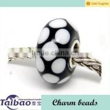 Black & White point CHARM MURANO beads GLASS 925 Silver bead Charms Bracelet fit european jewelry