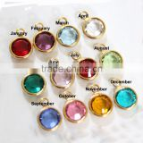 OEM Gold Personalized Charms,Birthstone Charms, Connector Charms, Bezel Set Birthstone Charms, Crystal Birthstones Charm