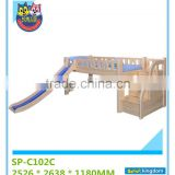 Solid Wood Low Loft Bed With Slides For Kids 90X180 Bed