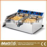 EF102 Stainless-Steel Electric Deep Fryer Commercial, 2 Tank Double Basket deep fryer With Cover