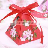Beautiful in colour of unquie ribbon hot-selling triangle candy box