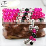 Men' Women's Natural Rose Red Agate Tibetan Buddhist Beads Prayer Buddha Mala Bracelet Link Chain Wrist Necklace
