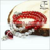 Wholesale fashion natural gemstones Tibetan silver White Red Agate crystal prayer beaded bracelet