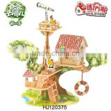 2015 New Item Educational 3D DIY Toys House Puzzles Game, DIY 3D Wooden puzzle Forest Villa Toys