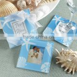Wholesale beach temed glass coaster, wedding favors blank glass photo coaster