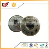 latest design high quality low price custom made silver metal jeans buttons and rivets