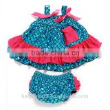 New style Spaghetti Strap bowknot swim fish ruffle pattern dress bloomer set mermaid suit for baby girl