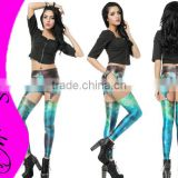 Sex Hot Cheaper Leggings for Women Designed digital Printed green galaxy Suspenders jeans punk pants trousers
