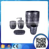 Dongguan factory direct sells imitated metal effct with carving flower resin bath set for bathroom accessories