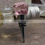 crystal wine stopper with pink color for wedding gift