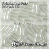 "High Quality Fashion JS Glass Seed Beads - 141# 2"" 4.8MM Ceylon White Opalescent Bugles Beads For Garment & Jewelry"