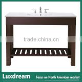 "48"" hotel bathroom vanity with solid wood cabinet wooden shelf"