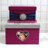 Elegant purple wedding money box in handmade with photo frame