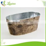 Chinese supplier vintage style antique imitation birch bark decor multi-purpose aged metal flower pots planter with tree bark
