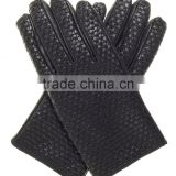 Men's Woven Leather Gloves With Cashmere Lining