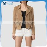 Cool newest slim fitting zip pockets classic city style blank suede biker jacket for women