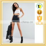 High rise denim shorts tight fit fashion jeans shorts in washed black