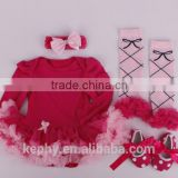 Newborn Red Damask Pettiskirt with headband shoes Long sleeves Bodysuit Headband Set 4pcs NB-12M with warm legs