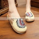 skin wing women homemade linen sandals comfortable fisherman shoe folk slippers/Chinese ethnic flavor casual linen shoes