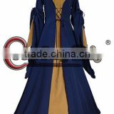 Brown Dark Blue Medieval Renaissance Victorian Ball Gown Dress Costume Halloween Cosplay Costume